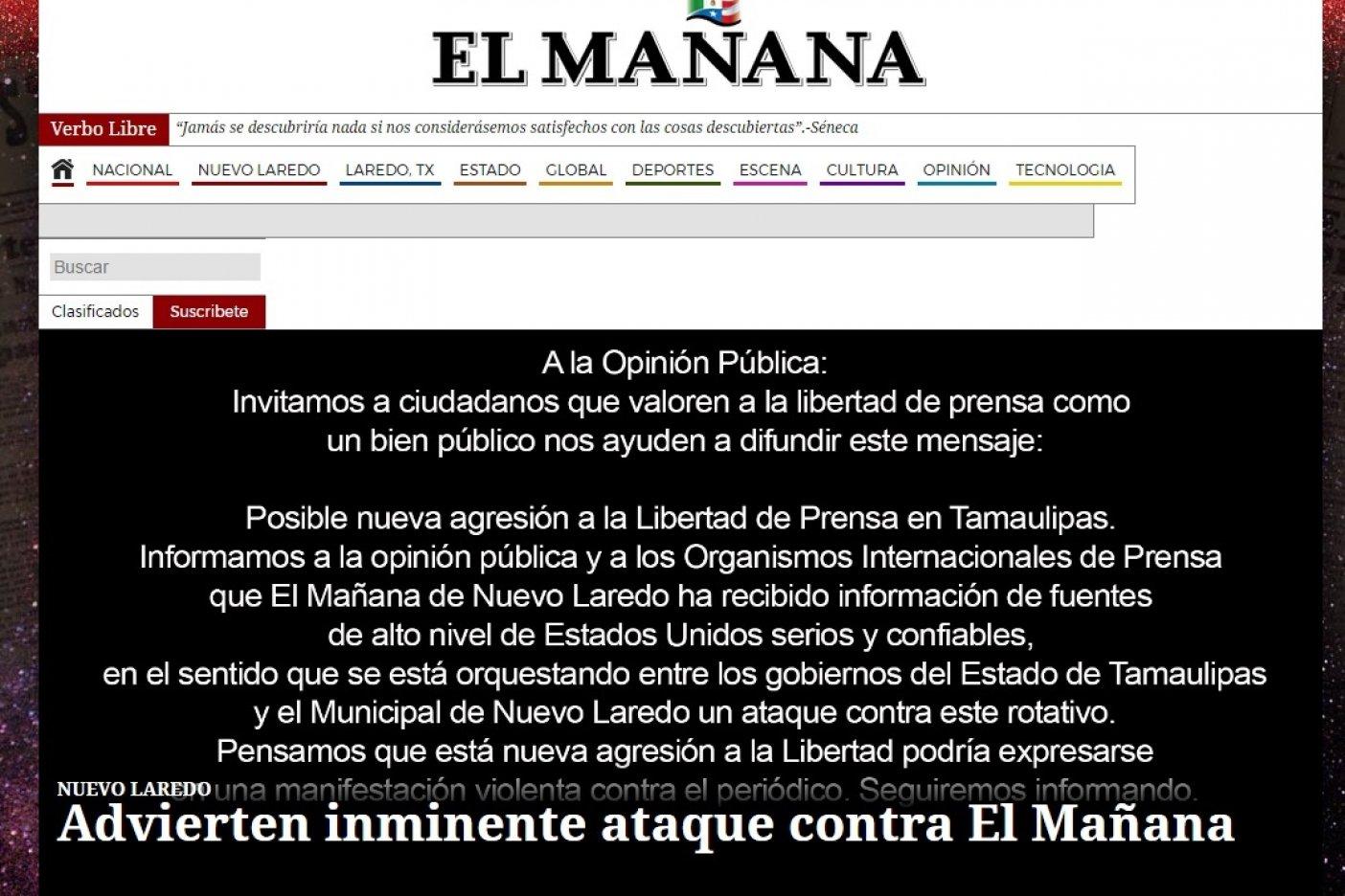 Advierten de ataque contra El Mañana