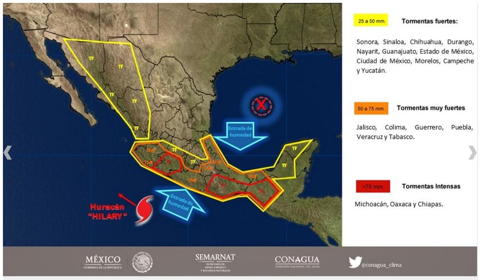 Hilary se aleja de México, pero deja oleaje elevado y más lluvia
