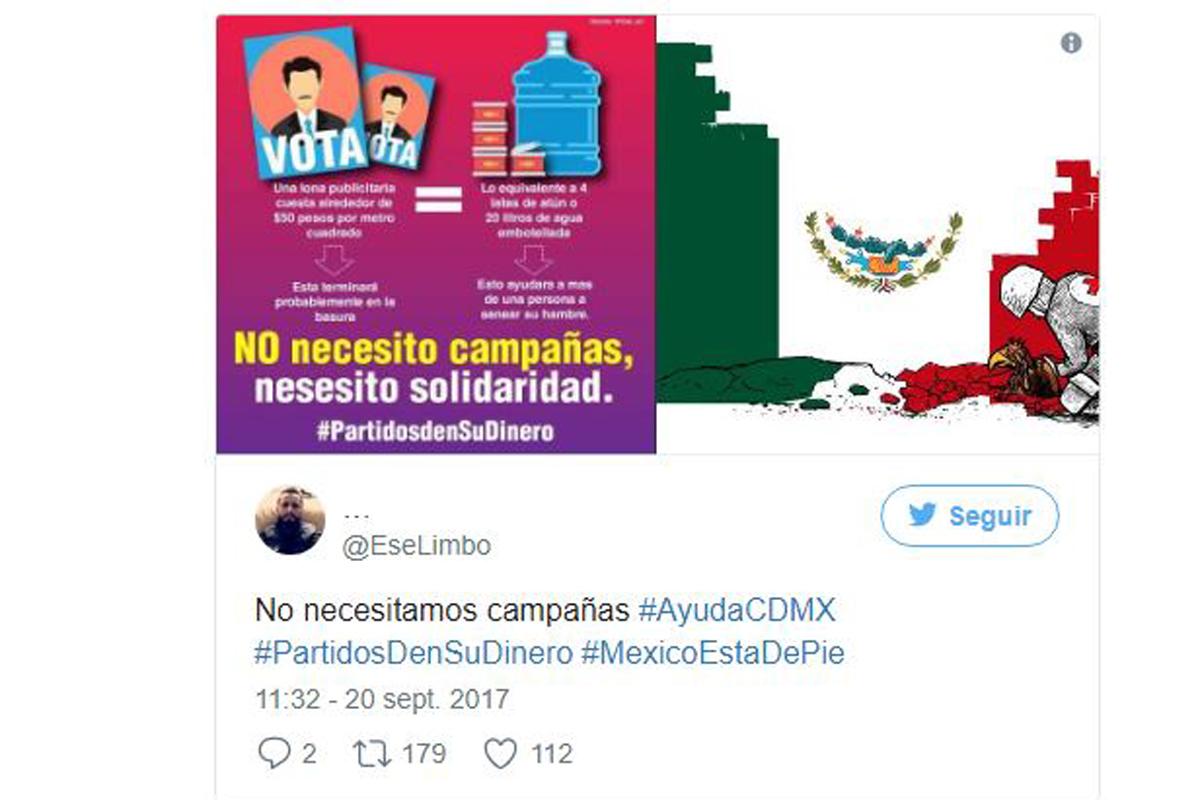 Exigen tuiteros a políticos con hastag #PartidosDenSuDinero a reconstrucción de México