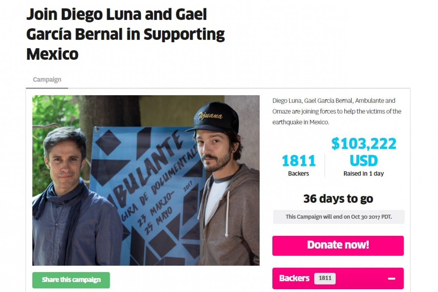 Diego y Gael arman campaña internacional para damnificados