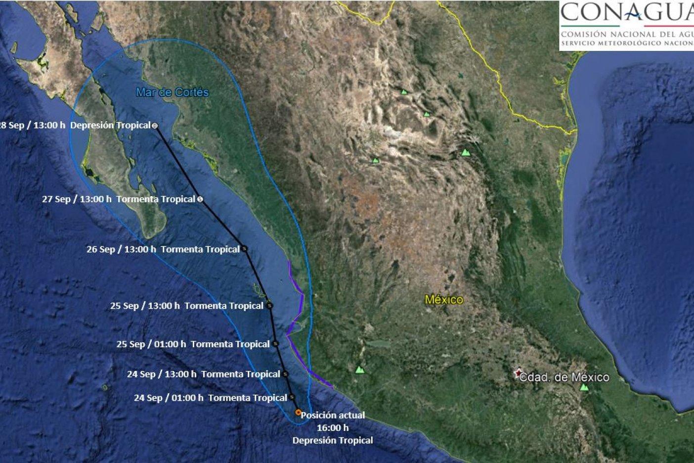 Depresión tropical 18-E se forma en el Pacífico