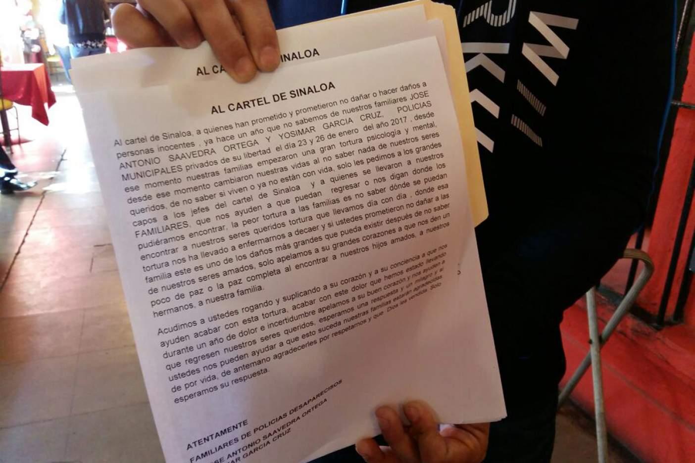 Suplican ayuda a cártel de Sinaloa para localizar a policías desaparecidos